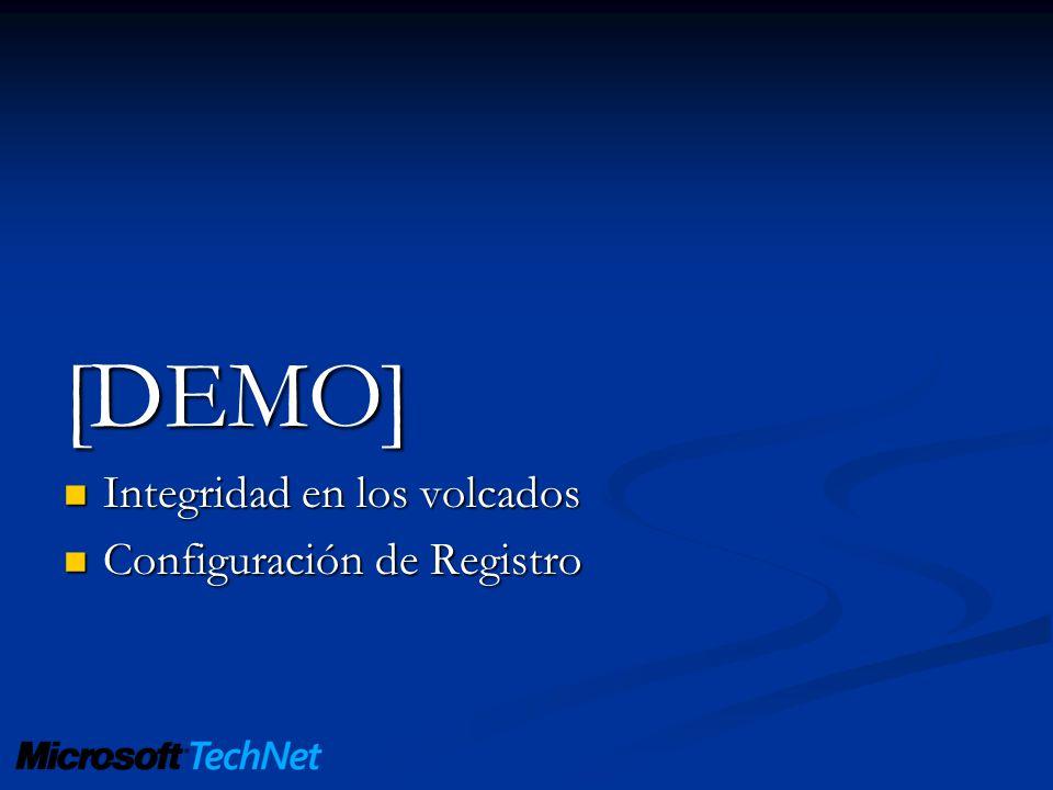 [DEMO] Integridad en los volcados Configuración de Registro